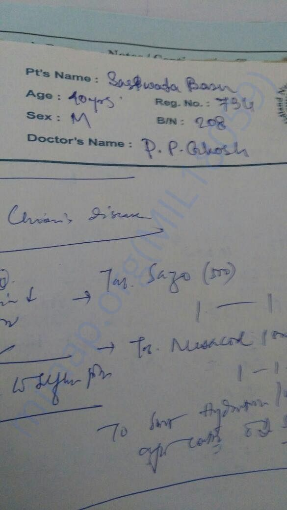 Dr. P.P.Ghosh's prescription suggesting Crohn's Disease