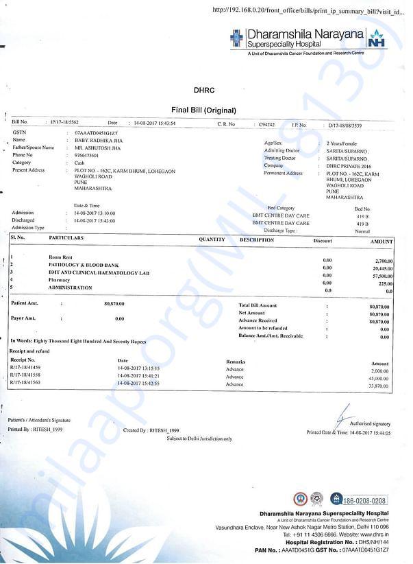 Hospital Bill till Pre BMT stage