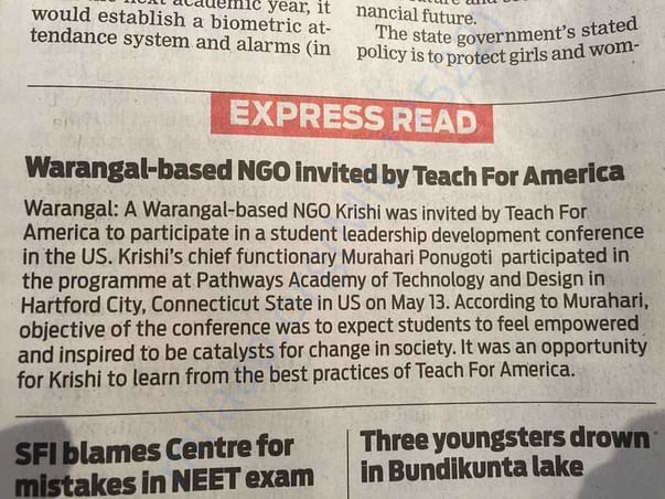 """""""Teach for America"""" in US has invited Krishi NGO to share their story."""