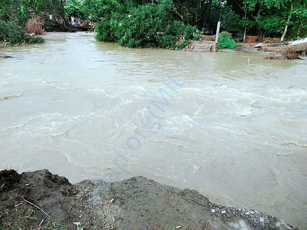 Flow of water inside the village by destroying houses