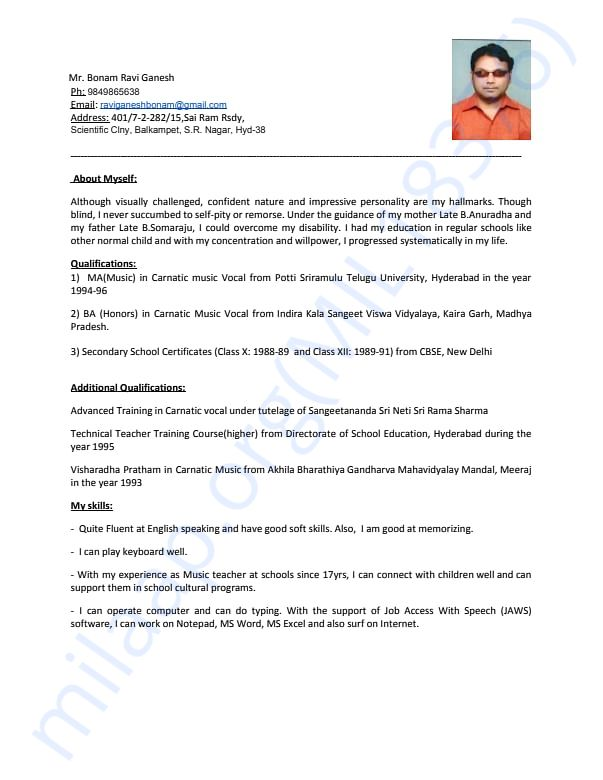 Resume of Ravi Ganesh sir