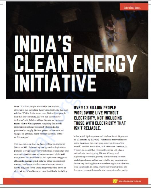 The opportunity - Clean energy projects in India