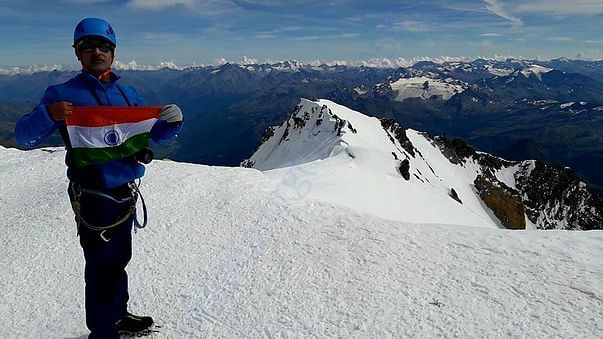 Top of the Mt. Blanc (4810 m), highest point of Alps, France