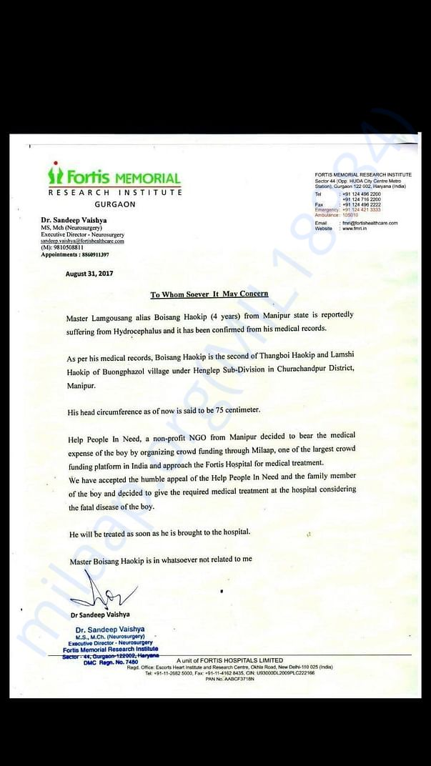 Confirmation letter from Fortis Hospital