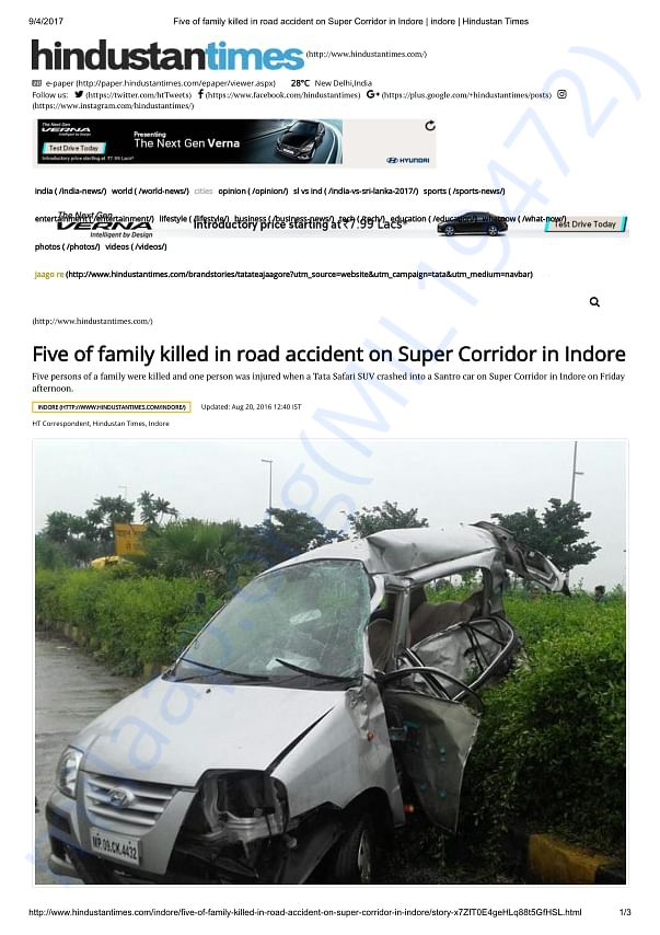 Massive Road Accident that killed five of the same family