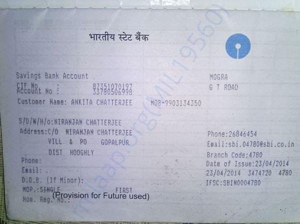 Soumen's wife's bank account details