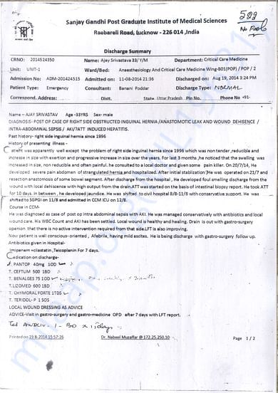 discharge summary sgpgims lucknow