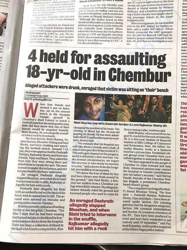 Mumbai Mirror Report on the Incident