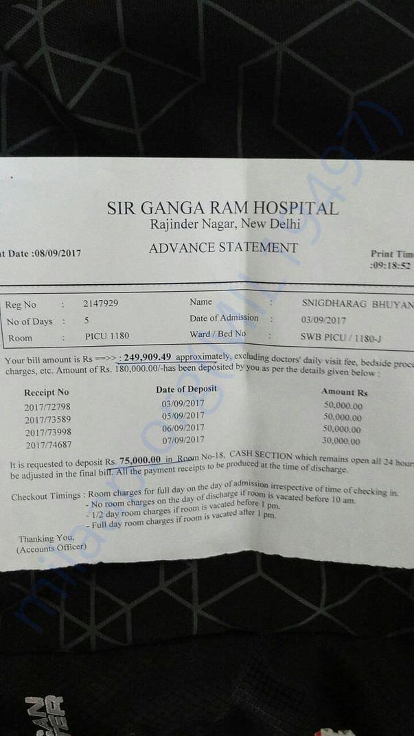 Bill amount for 5 days in Sir Gangaraam Hospital