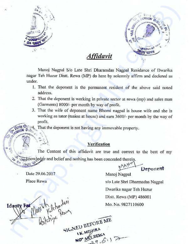 AFFIDAVIT OF SALARY OF MANOJ NAGPAL (FATHER)