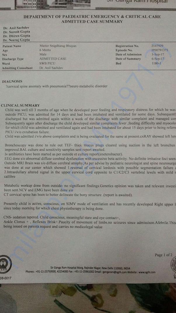 Admitted Case Summary of Sir Gangaraam Hospital
