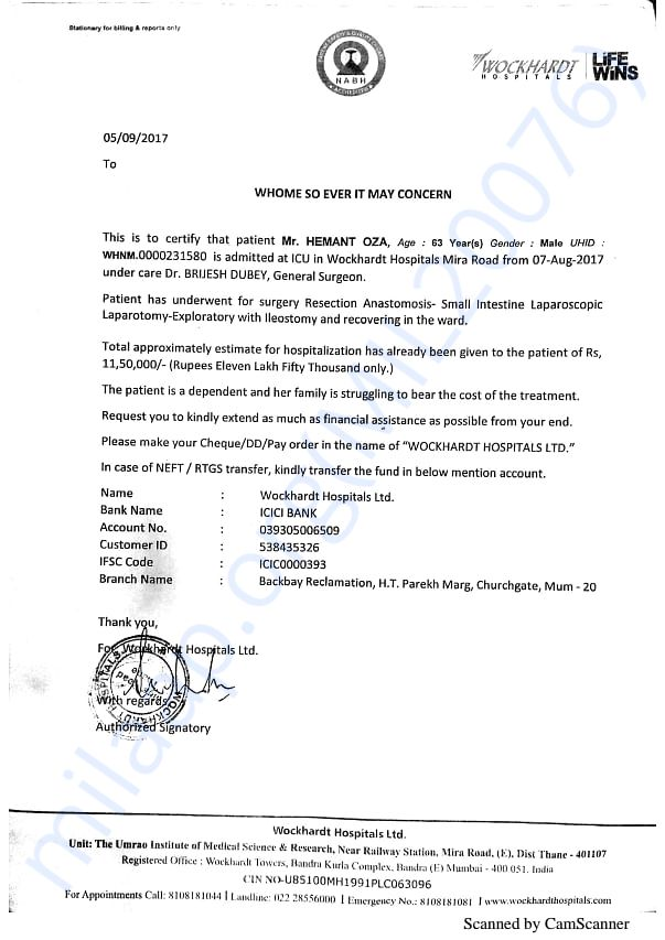 Expenses Expected Letter from Hospital