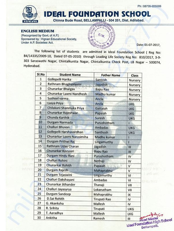 List of the Students Joined in school through LLS
