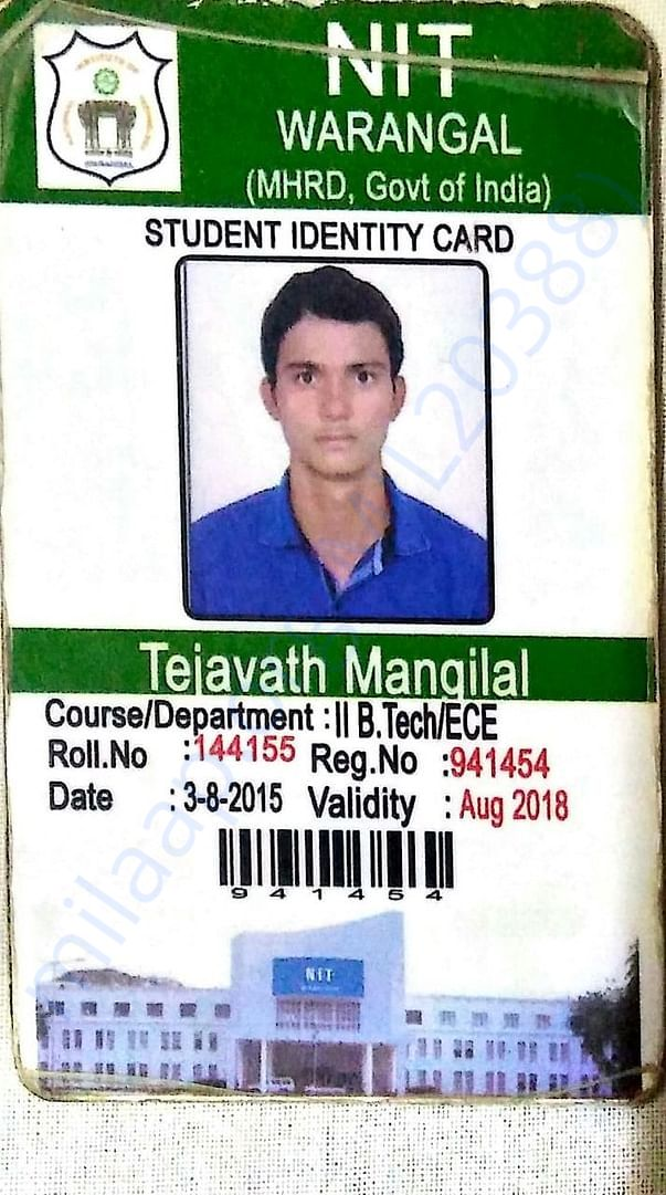 Mangilal's college ID Card