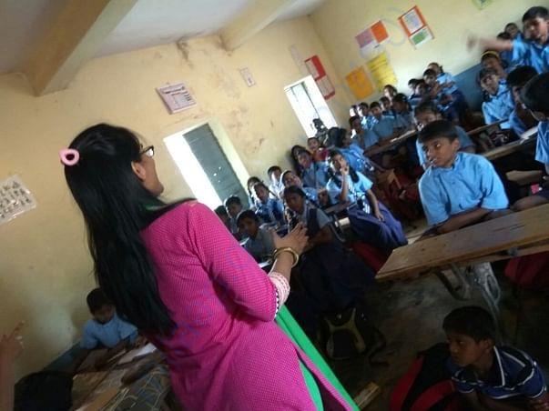 Pragati miss introducing letter writing to kids