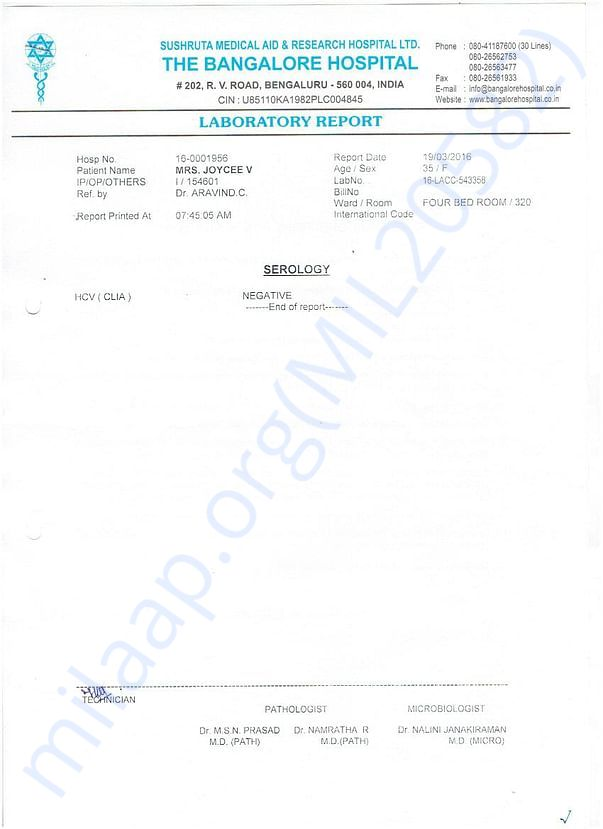Bangalore Hospital Serology Report.