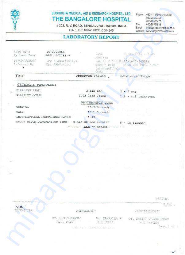 Bangalore Hospital Clinical Pathology Report.