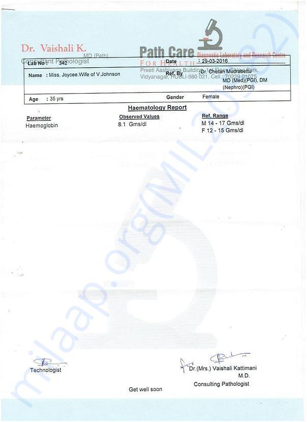Hubli Hospital Report.