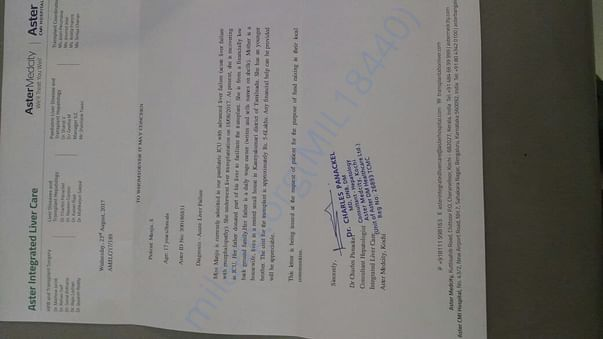 Ref letter from Hospital for 6L earlier