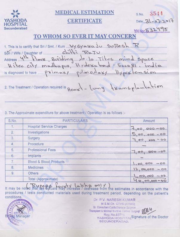 Yashoda Hospitals cost estimations