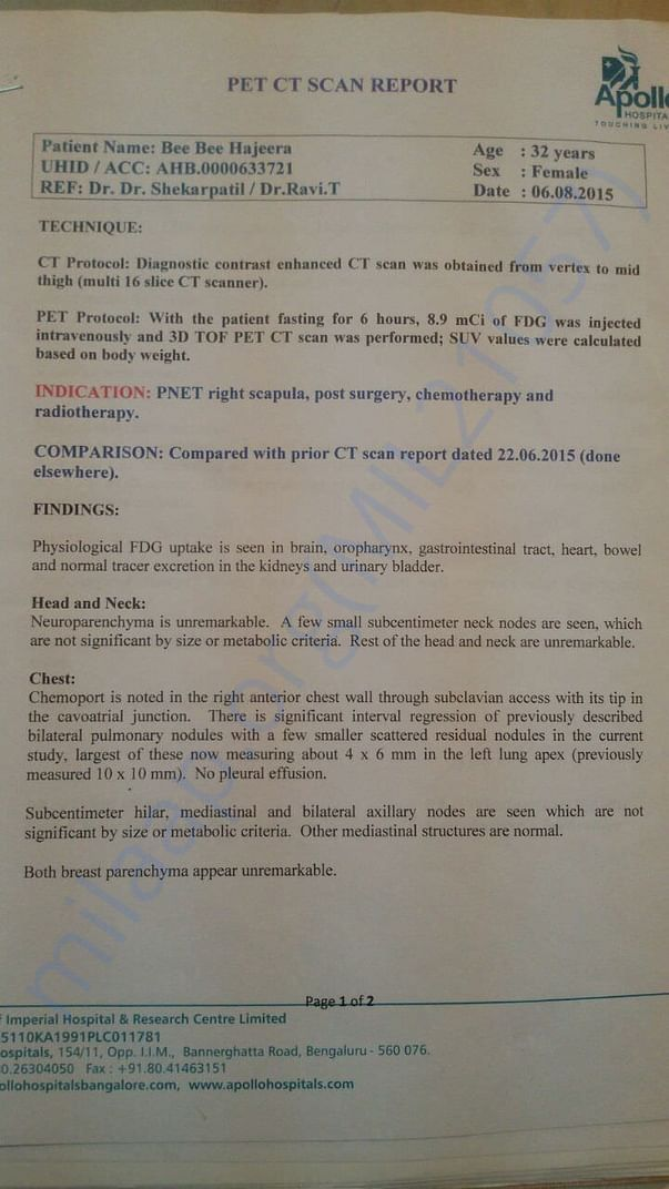 PET CT Scan Report- 06th Aug 2015