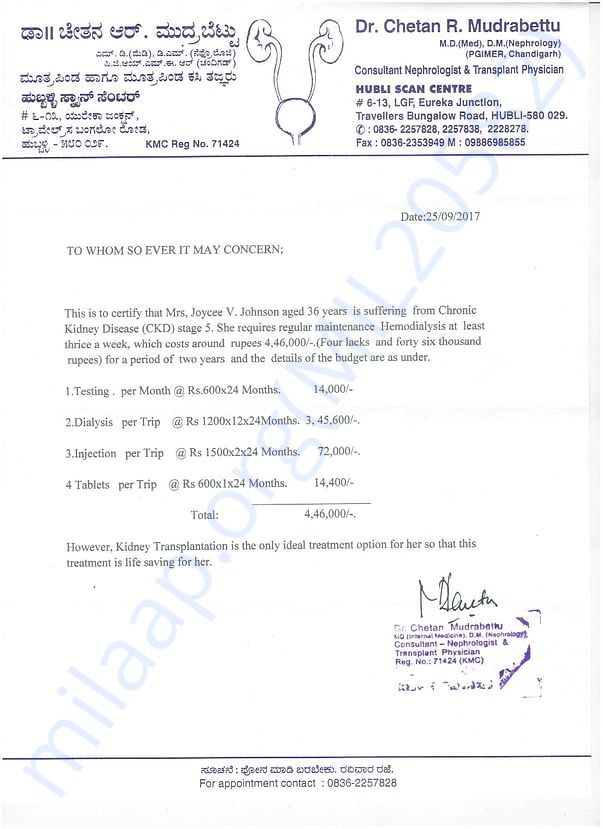 Doctor Chetan R Letter to the Donors