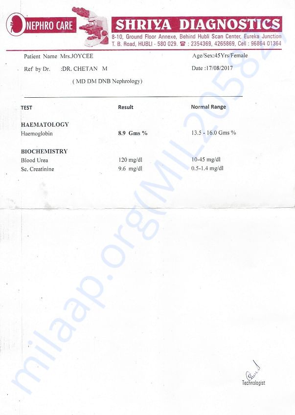 Latest Test Report on Haematlogy and Biochemistry