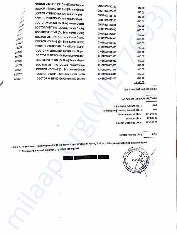 Bill paid at ck birla hosptial on 6th sept... amount which has bn rais