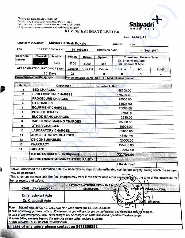 Sahyadri Hosptial Estimate for hospitalization