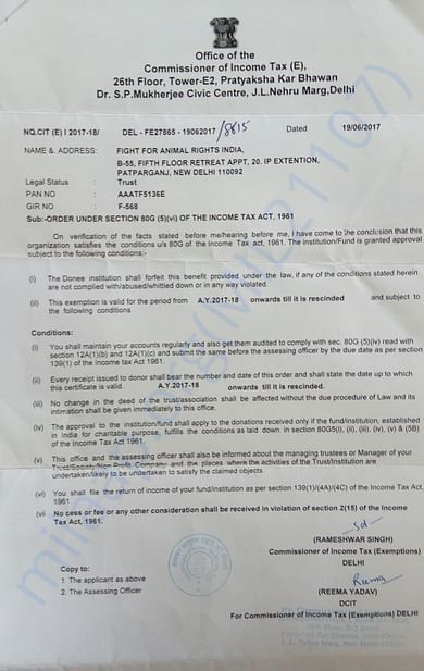 FFAR India 80G certificate