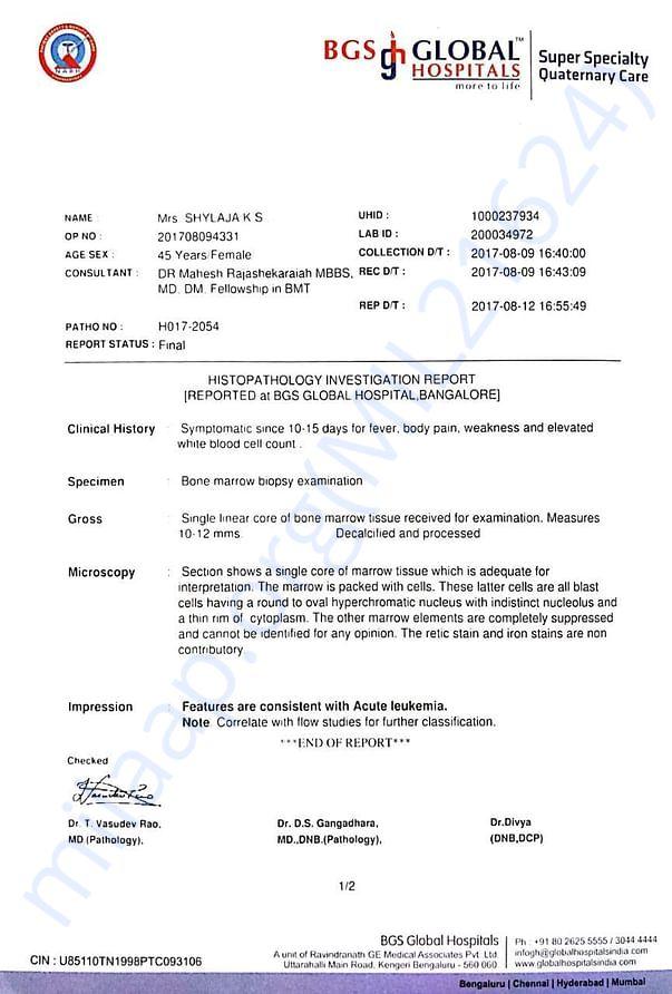 Biopsy Examination report