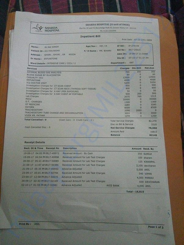 Latest  Bill From Sharda Hospital - 1