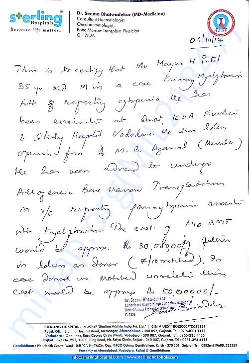 Doctors Letter for Diagnosis and Estimation for Bone Marrow Transplant