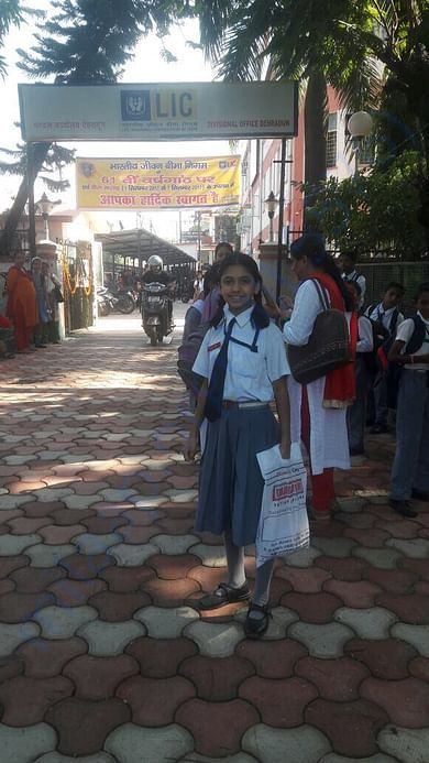 Maya Dressed for School in Dehradun (Fall 2017)