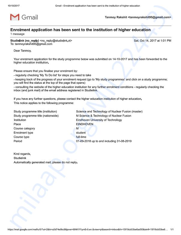 Application document