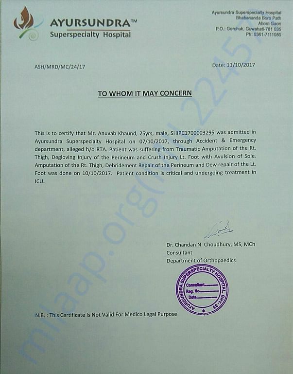 Medical Certificate issued on 11-Oct-2017
