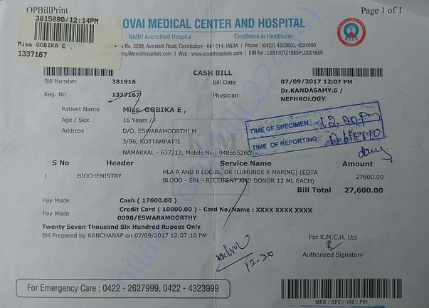 Blood test invoice for kidney transplant operation