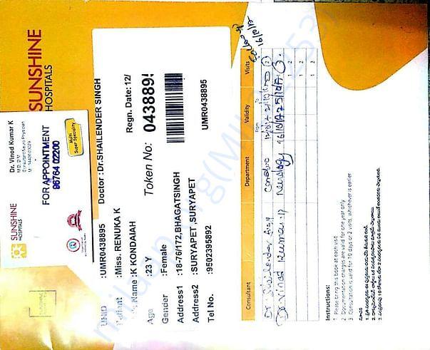 Renuka Admission in Sunshine Hospital