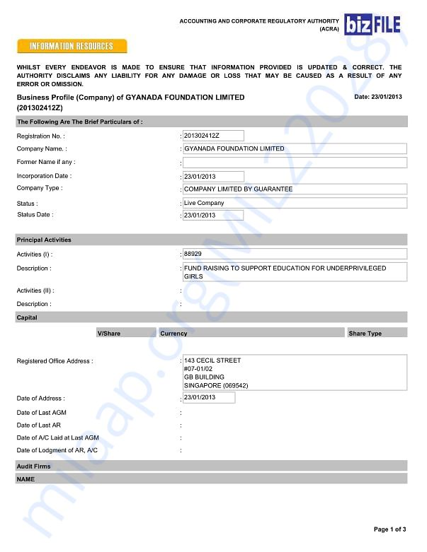 Gyanada Foundation Limited (Singapore entity)