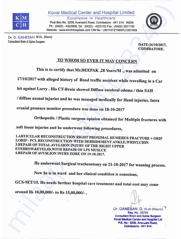 Medical declaration from Hospital and Neurosurgeon