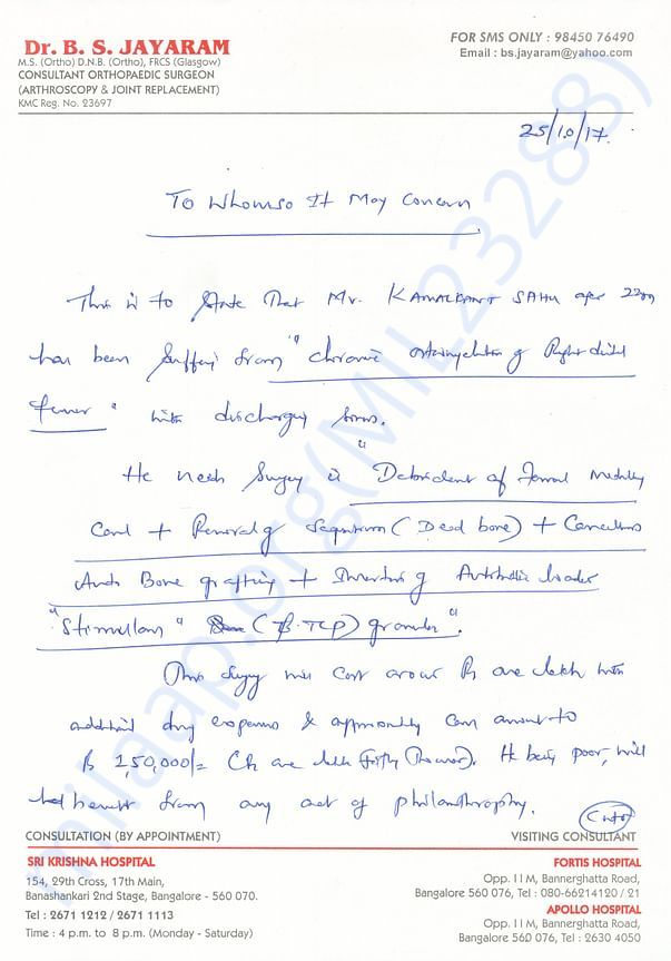 Dr jayaram's letter detialing treatment urgeency and cost esimate