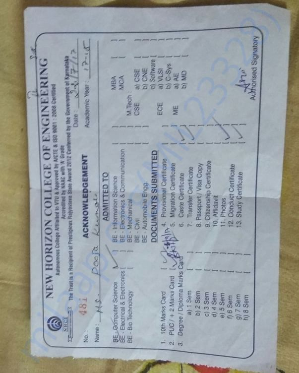 This is Pooja Kumari Admission card while she joined the College.