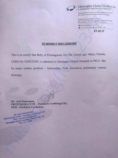 Medical Certificate issued by Global Hospital