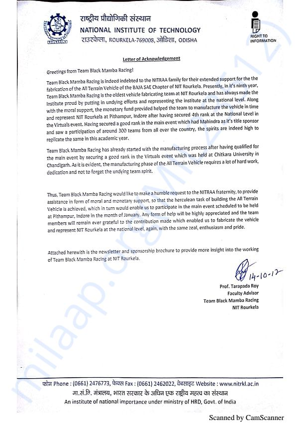 Request to NITRAA Fraternity
