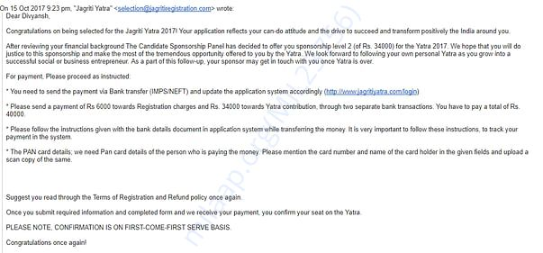 Conformation mail for selection and regarding fee payment.