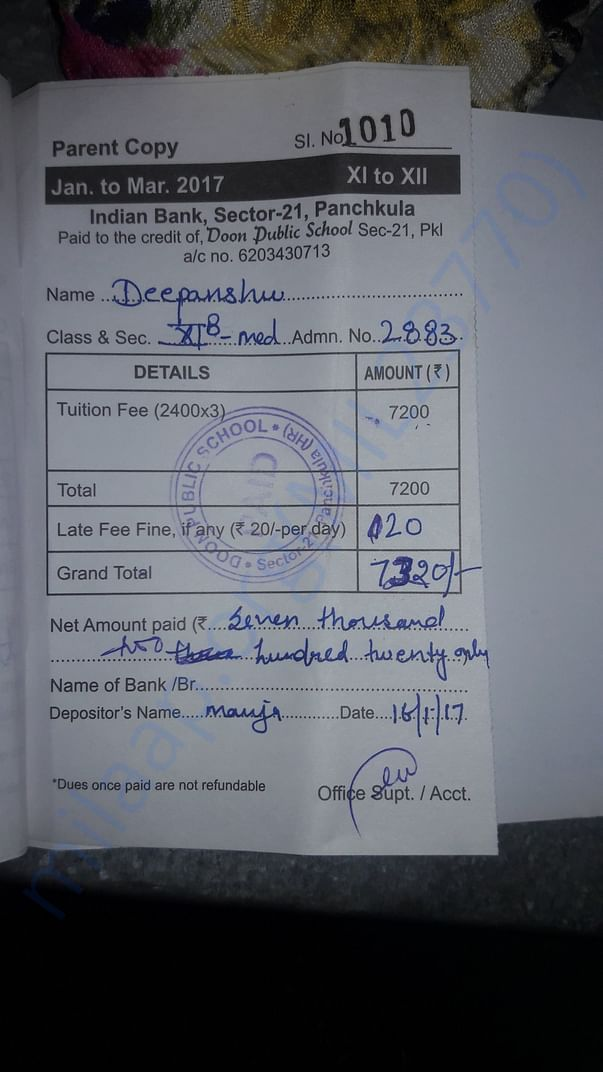 class 11 full year fees deposited