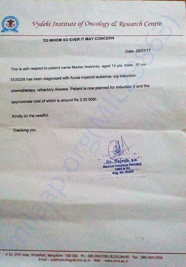 Doctor certificate with cost requirement