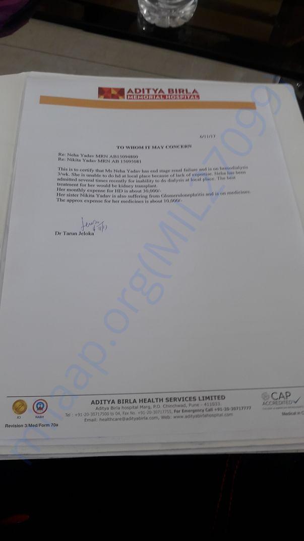 Dr jeloka' s letter  from aaditya Birla Hospital