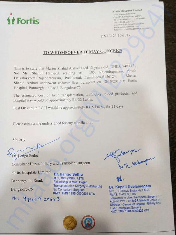 Letter of cost of liver transplantation
