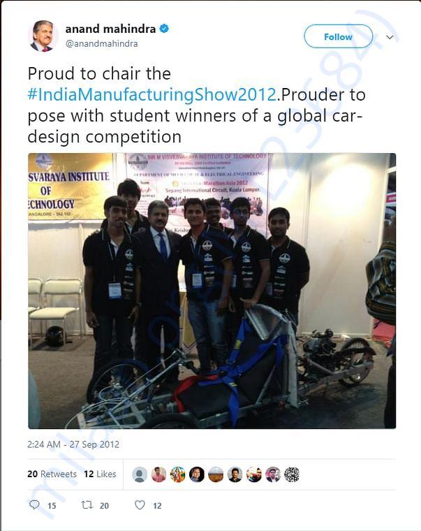 Tweet by Anand Mahindra, CEO of Mahindra & Mahindra
